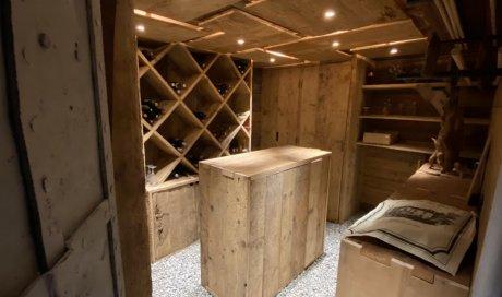 Créabois - Menuisier pour création d'une cave en vieux bois brossé à Megève